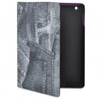 Cool Denim Style Protective PU Leather Case for Ipad 2 / The New Ipad - Grey + Black
