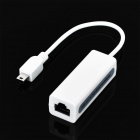 Mini USB 5-Pin to RJ45 LAN Ethernet Network Adapter Dongle - White