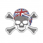 3D Ghost Head Style UK National Flag Pattern Car Sticker - Silver + White + Blue + Red (Pair)
