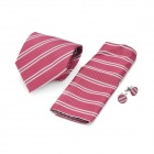 Fashion Red Checked and White Stripe Pattern Men's Tie + Handkerchief + Cuff Links - White + Red