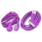 Earphone with Microphone + USB Data Cable for iPhone 4 / 4S / iPad / The New iPad - Purple