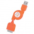Retractable USB Sync Daten / Ladekabel für iPhone 4 / 4S / 3G / 3GS / iPod Touch 4 - Orange