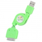 Retractable USB Sync Daten / Ladekabel für iPhone 4 / 4S / 3G / 3GS / iPod Touch 4 - Grün