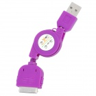 Retractable USB Sync Daten / Ladekabel für iPhone 4 / 4S / 3G / 3GS / iPod Touch 4 - Purple