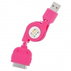 Retractable USB Sync Daten / Ladekabel für iPhone 4 / 4S / 3G / 3GS / iPod Touch 4 - Deep Pink