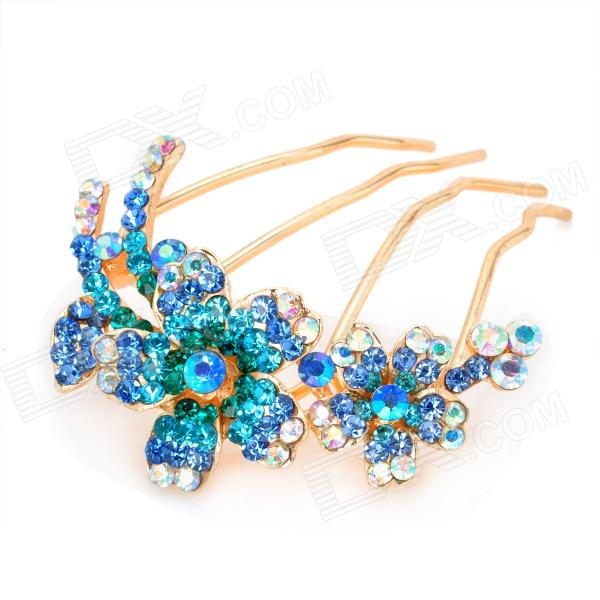Charming Rhinestone Flower Hair Pin/Clip - Golden + Blue