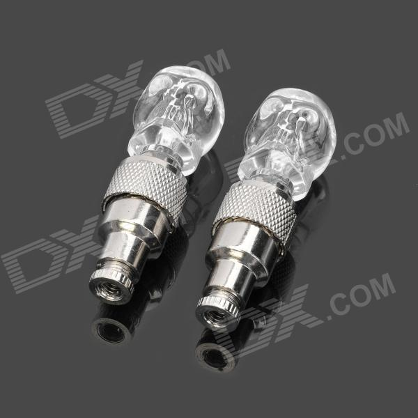 Flashing Colorful Light Skull Style Car Tire Valve Caps - Transparent + Silver (2-Pack) 2pcs cf18 kt led flasher 8 pin adjustable relay module fix auto car signal error flashing blinker 81980 50030 06650 4650 150w