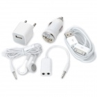 5-in-1 AC/Car Charger + USB Charging Cable + Earphone + Audio Splitter Cable Set for iPhone - White