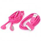 Stylish Earphone w/ Microphone + USB Data Cable for iPhone 4 / 4S / iPad / The New iPad - Deep Pink