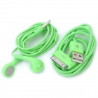 Earphone with Microphone + USB Data Cable for iPhone 4 / 4S / iPad / The New iPad - Green
