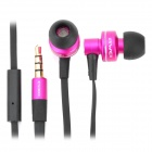 Stylish In-Ear Earphone with Microphone for iPhone / iPad / iPod - Deep Pink + Black