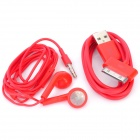 Stylish Earphone w/ Microphone + USB Data Cable for iPhone 4 / 4S / iPad / The New iPad - Red