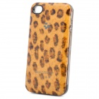 Fashion Leopard Style External 1800mAh Emergency Battery Charger Back Case for iPhone 4 - Brown