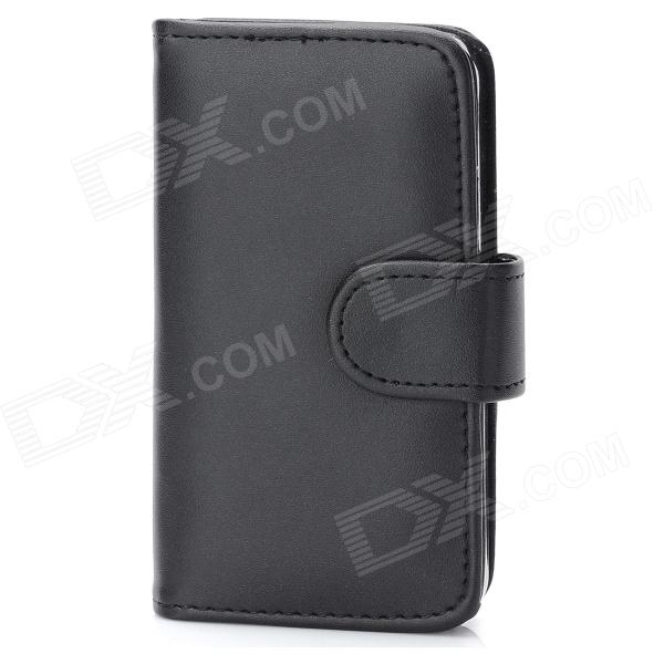 Protective PU Leather Case with 2 Card Holders for Iphone 4 / 4S - Black protective pu leather pouch bag for iphone 5 4 4s coffee