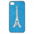 3D Eiffel Tower Style Protective Plastic Back Case for iPhone 4 / 4S - Blue + Silver