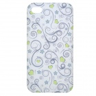 Protective Flowers Lover Hearts Pattern Back Case for Iphone 4 / 4S - Green + Transparent White