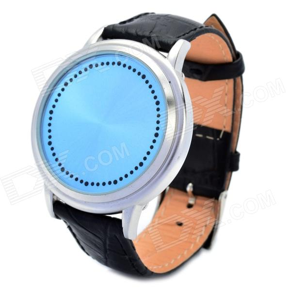 Stylish Touch Screen Blue/White Backlight Digital LED Wrist Watch - Blue + Black