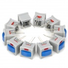 Non-Locked Push Button Switches with Indicator Light - Grey + Blue (10-Piece Pack)