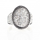 Greek Designer's Mirror Mirror Imitated Diamond Finger Ring - Silver