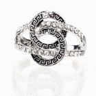Greek Eternity Sign in REVENGE Imitated Diamond Finger Ring - Silver