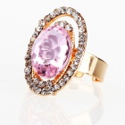 Italian Designer's Saturnian System Big Imitated Diamond Finger Ring - Pink