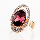 Italian Saturnian System Big Imitated Diamond Finger Ring - Burgundy