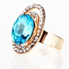 Italian Saturnian System Big Imitated Diamond Finger Ring - Light Blue