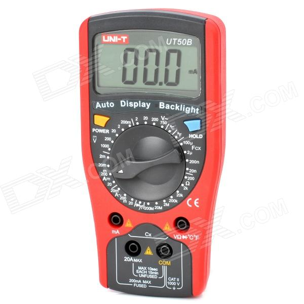 UNI-T UT50B 2.5 LCD Digital Multimeter - Red + Grey (1 x 9V) my68 handheld auto range digital multimeter dmm w capacitance frequency