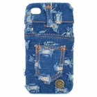Cool Denim Jean Cover Protective PC Back Case for Iphone 4 / 4S - Blue