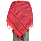 Outdoor Sports Cotton Tassel Shawl Scarf - Red + Black (Thicken Pattern)