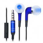Stylish In-Ear Earphone with Microphone for iPhone 4 / 4S / 3GS - Blue + Black