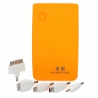 5000mAh Mobile External Power Battery Charger with Dual USB / 4-LED - Orange