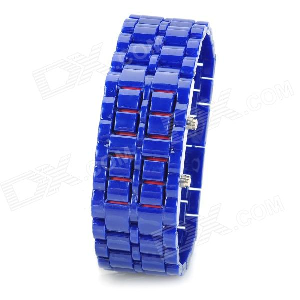 Fashion Alloy Red Light LED Digital Wrist Watch - Blue (1 x CR2032)
