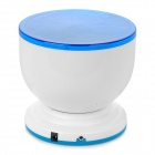 5-LED Light Blue Ocean Waves Speaker Pot Projetor - Azul + Branco (4 x AA)