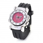 Kreative Arsenal Logo Double-Side Flip Quartz Analog-Armbanduhr - Schwarz + Rot + Silber (1 x SR626)