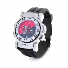 Creative AC Milan Logo Double-side Flip Quartz Analog Wrist Watch - Black + Red (1 x SR626)