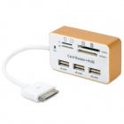 Multi-Card Reader + USB 3-Port Hub Combo Kit w/ 30-Pin Connector for iPad / iPad 2 - White + Golden