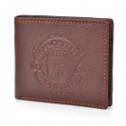 Stylish Manchester United Logo Genuine Leather Wallet Purse - Coffee