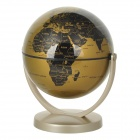 14cm All-direction Rotation Administrative English Map Globe - Golden + Black