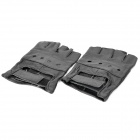 Professional Body Building Sports Holes Style Half Finger Gloves - Black (Pair/Size-M)