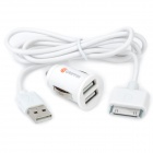 Car Cigarette Powered Adapter Charger w/ Dual USB Output for iPhone 3G / 4 / 4S / iPad - White