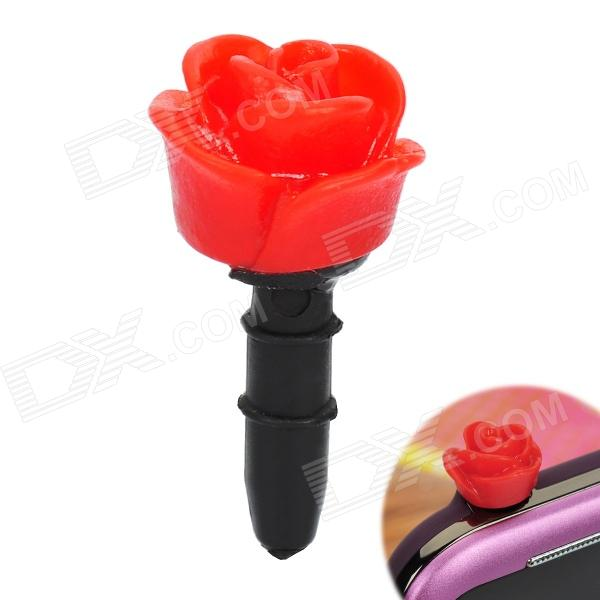 Decorative Rose Style Dustproof Earphone Plug for 3.5mm Audio Jack Hole - Red + Black decorative rose style dustproof earphone plug for 3 5mm audio jack hole red black