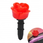 Decorative Rose Style Dustproof Earphone Plug for 3.5mm Audio Jack Hole - Red + Black