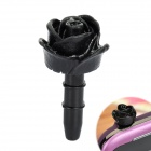 Decorative Rose Style Dustproof Earphone Plug for 3.5mm Audio Jack Hole - Black