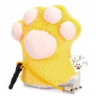 San-X Kutsushita Nyanko Finger Puppet Cleaner Cell Phone Strap with 3.5mm Dustproof Plug - Yellow