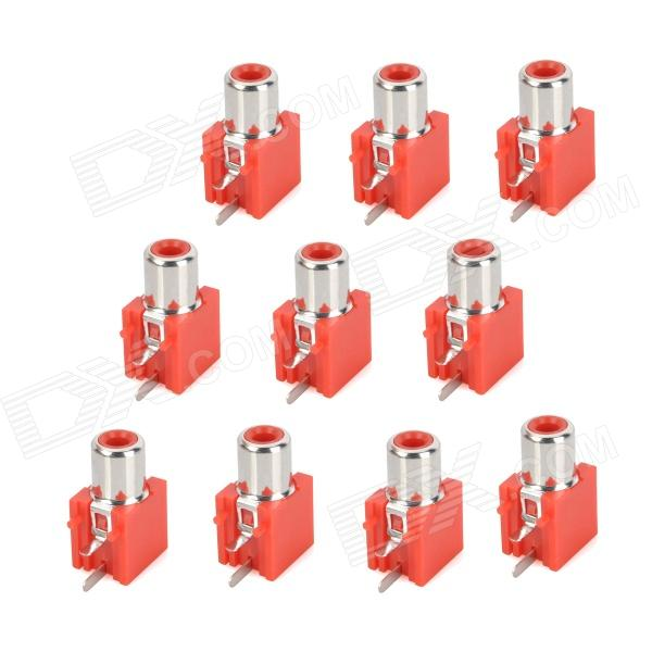 DIY Parts RCA Socket Connectors - Red + Silver (10-Piece Pack) diy parts rca socket connectors white silver 10 piece pack