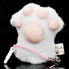 San-X Kutsushita Nyanko Finger Puppet Cleaner Cell Phone Strap with 3.5mm Dustproof Plug - White