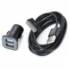 Car Cigarette Powered Power Adapter Charger w/ Dual USB Output for iPhone / iPad / iPod - Black