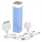2200mAh Mobile External Power Battery Charger with Adapters - Sky Blue