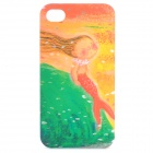 Cartoon Mermaid Style Protective Back Case for iPhone 4 / 4S - Green + Red + Yellow